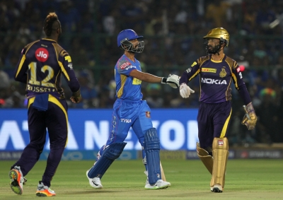 Karthik pulled a brilliant effort to run Rahane out. (IANS)