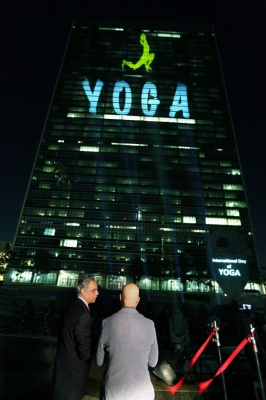 UN headquarters lit up with animated yoga asana show