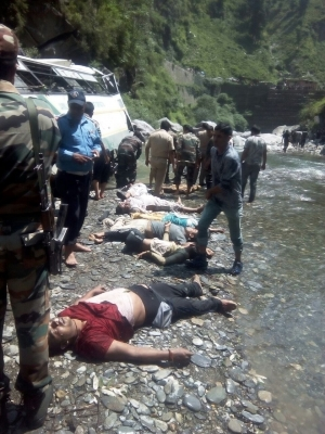 16 pilgrims killed, 19 grievously injured in bus accident (Third Lead)