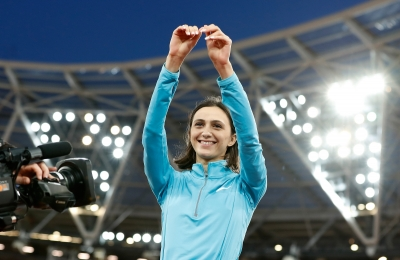 Russia s Lasitskene retains women s high jump world title