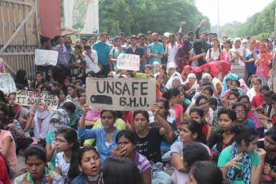 Students in Delhi protest BHU violence