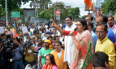 BJP stages protests against attack on Ghosh, meets WB Guv