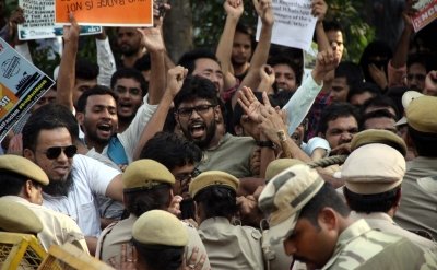 Students protest at CBI HQ for tracing missing JNU scholar (Lead)