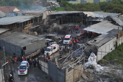 Dozens killed after huge explosion sparks blaze in Indonesian fireworks factory
