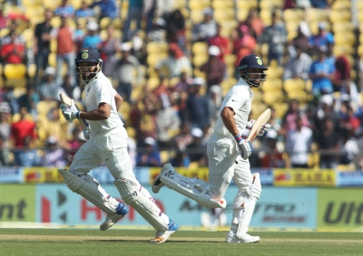 India declare at 610/6, take 405 run lead vs Sri lanka (Lead, Correcting headline)