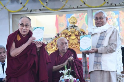 Dalai Lama, Nitish jointly release book at Bodh Gaya