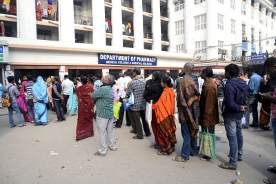 Kolkata: Patients queue up outside a hospital for medical treatment in Kolkata on Feb 1, 2018. With an emphasis on health besides agriculture and rural economy, infra and senior citizens in the Union Budget 2018-19, Finance Minister Arun Jaitley announced the launch of a flagship National Health Protection Scheme to cover 10 crore poor and vulnerable families, benefiting approximately 50 crore people. The provision of Rs 5 lakh per family per year for medical reimbursement, under National Health