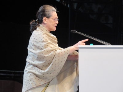 Power-drunk Modi government tried to destroy Congress: Sonia (Lead)