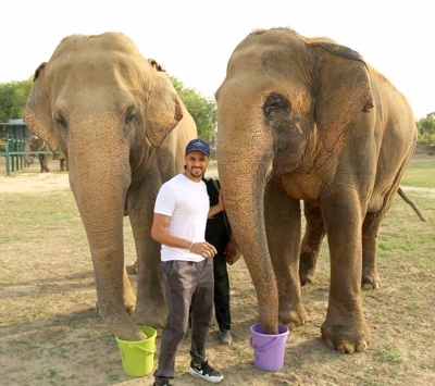 Actor Siddharth Malhotra visits Mathura elephant rescue centre