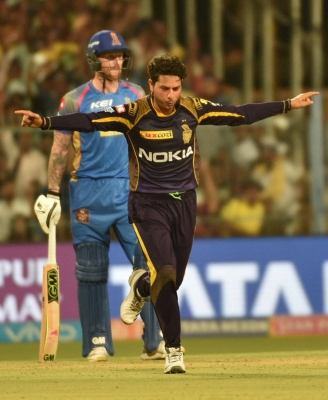 IPL: Kuldeep four-for helps KKR restrict Royals to 142