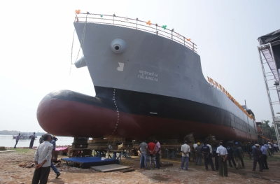 Ship for carrying fuel to INS Vikramaditya launched in Kolkata