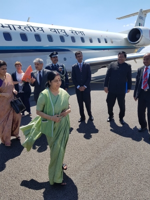 Sushma leads yoga day celebrations at European Parliament