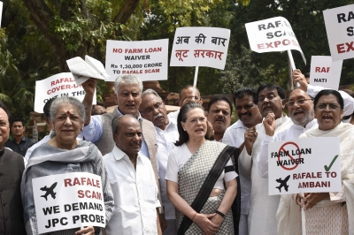Rafale deal: Sonia leads opposition protest, demands JPC probe (Second Lead)