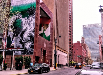 NY mural of astronaut, Gandhi talks about future