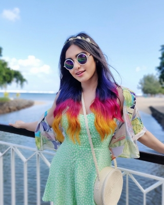 Purple, pink, orange: Adah flaunts three hair colours