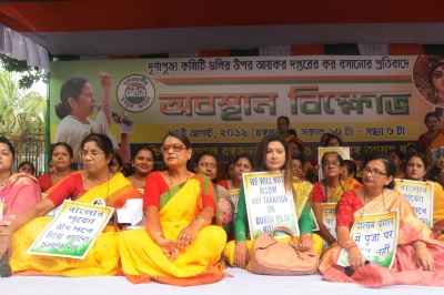 Trinamool stages protest over notice to Durga Puja committees