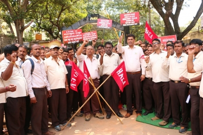 Staff strike for wage revision grounds HAL operations (2nd Lead)