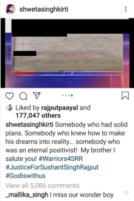 Somebody who had solid plans: SSR's sister comments on 'diary' pages in Insta post