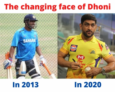 Dhoni returns with a changed, muscular appearance