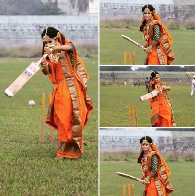 Bangla woman cricketer's wedding photoshoot on pitch bowls out social media
