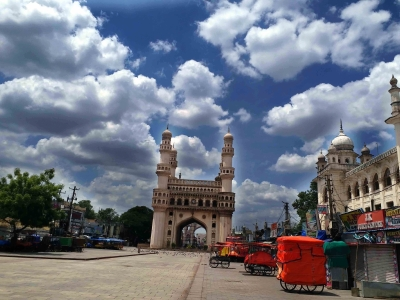 Hyderabad : A view of lockdown  with Clouds pre-monsoon activity is set to intensify across the state  due to Tauktae Toofan   lAND MARK OF HYDERABAD on Monday  17 May 2021. (Photo: Snaps India/IANS)